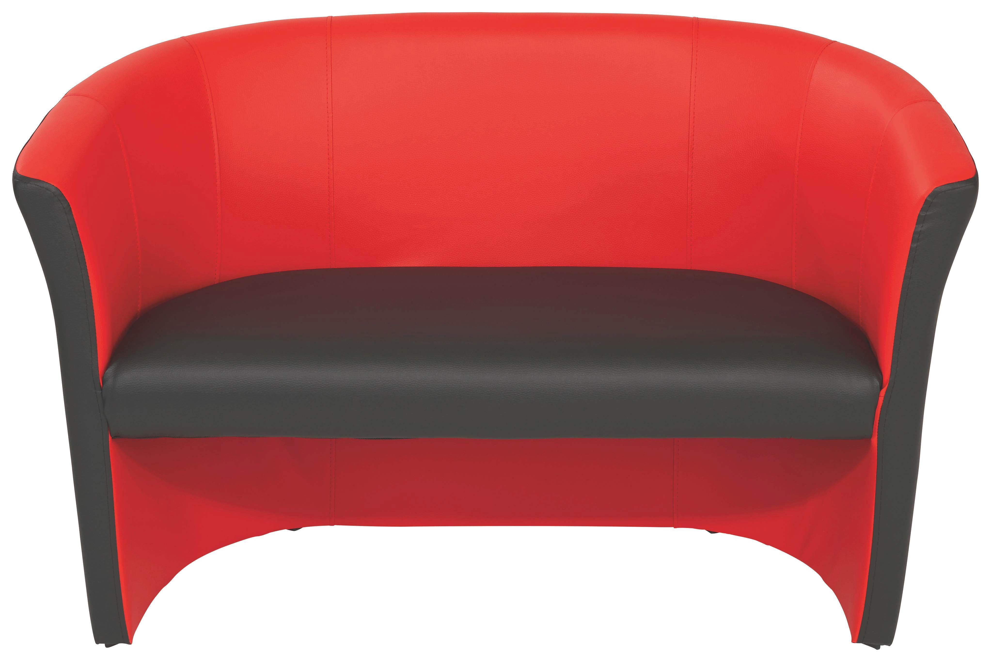 Dvoumístná Pohovka Rainbow Duo - černá/červená, Moderní (118/76/59cm) - OMBRA