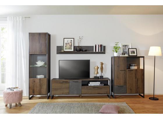 Komoda Highboard Steel - farby dubu/hnedá, Štýlový, kov/kompozitné drevo (88/119/40cm) - Modern Living