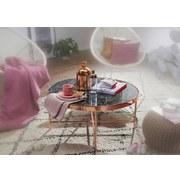 Couchtisch Rund Glasplatte Marmor-Optik Schwarz/Kupfer - Schwarz/Kupferfarben, Design, Glas/Metall (82,5/82,5/40cm) - MID.YOU