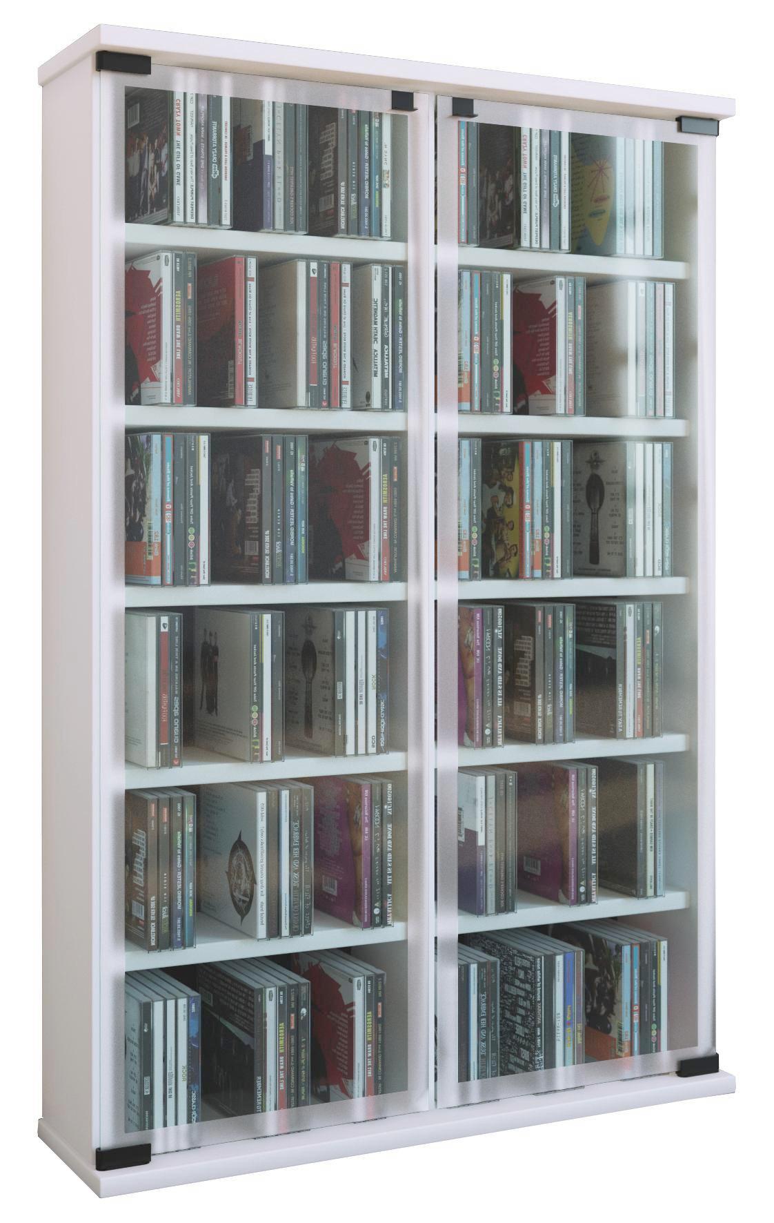 CD Regal in Weiß mit Glastüre