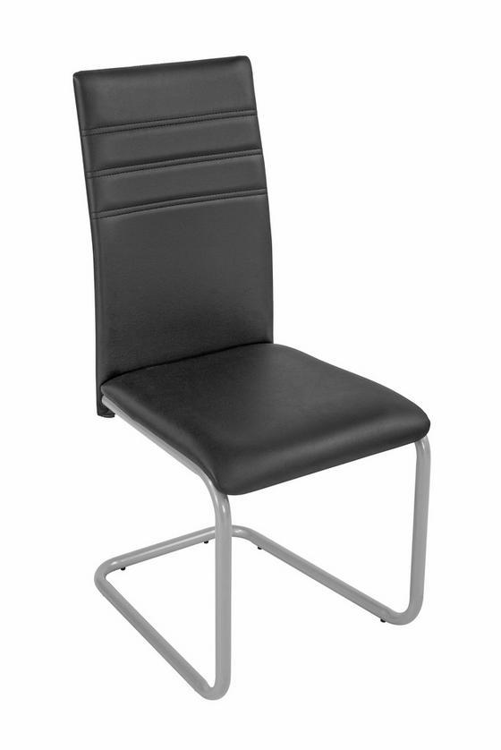 Szék Nina - fekete/ezüst színű, modern, műanyag/textil (43/95,5/55,5cm)