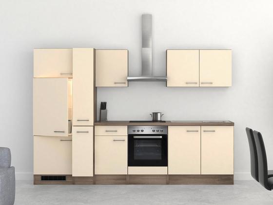 Küchenblock Eico 300 cm Magnolie - Edelstahlfarben/Eichefarben, MODERN, Holzwerkstoff (300/60cm)