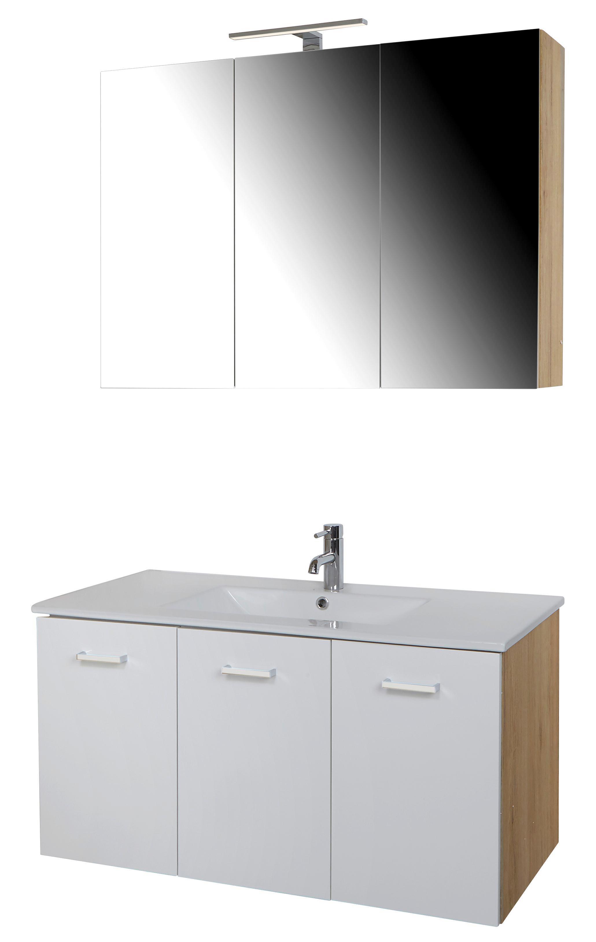 Badezimmer Rimini   Eichefarben/Weiß, KONVENTIONELL, Glas/Keramik (100/190