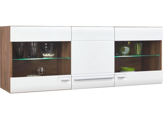Hängevitrine Avensis inkl. LED- Beleuchtung B:140cm Weiß - Eichefarben/Weiß, MODERN, Glas/Holzwerkstoff (140/52/37,1cm) - Luca Bessoni