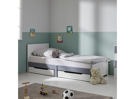 Posteľ Pre Deti Aj Mládež Brian - biela/svetlosivá, Moderný, drevo (96/80/203cm) - Mömax modern living