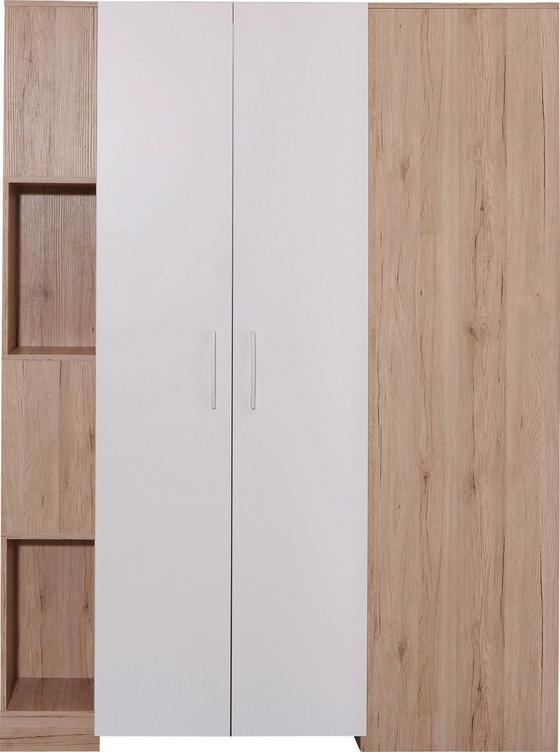 Sarokszekrény Box - tölgy színű/fehér, modern, faanyagok (120/205/150cm)
