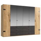 Drehtürenschrank mit Spiegel + Laden 300cm Detroit, Eiche - Eichefarben/Graphitfarben, Basics, Holzwerkstoff (300/216/58cm) - MID.YOU