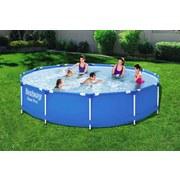 Schwimmbecken Steel Pro Pool - Blau/Weiß, MODERN, Kunststoff/Metall (366/76cm) - Bestway