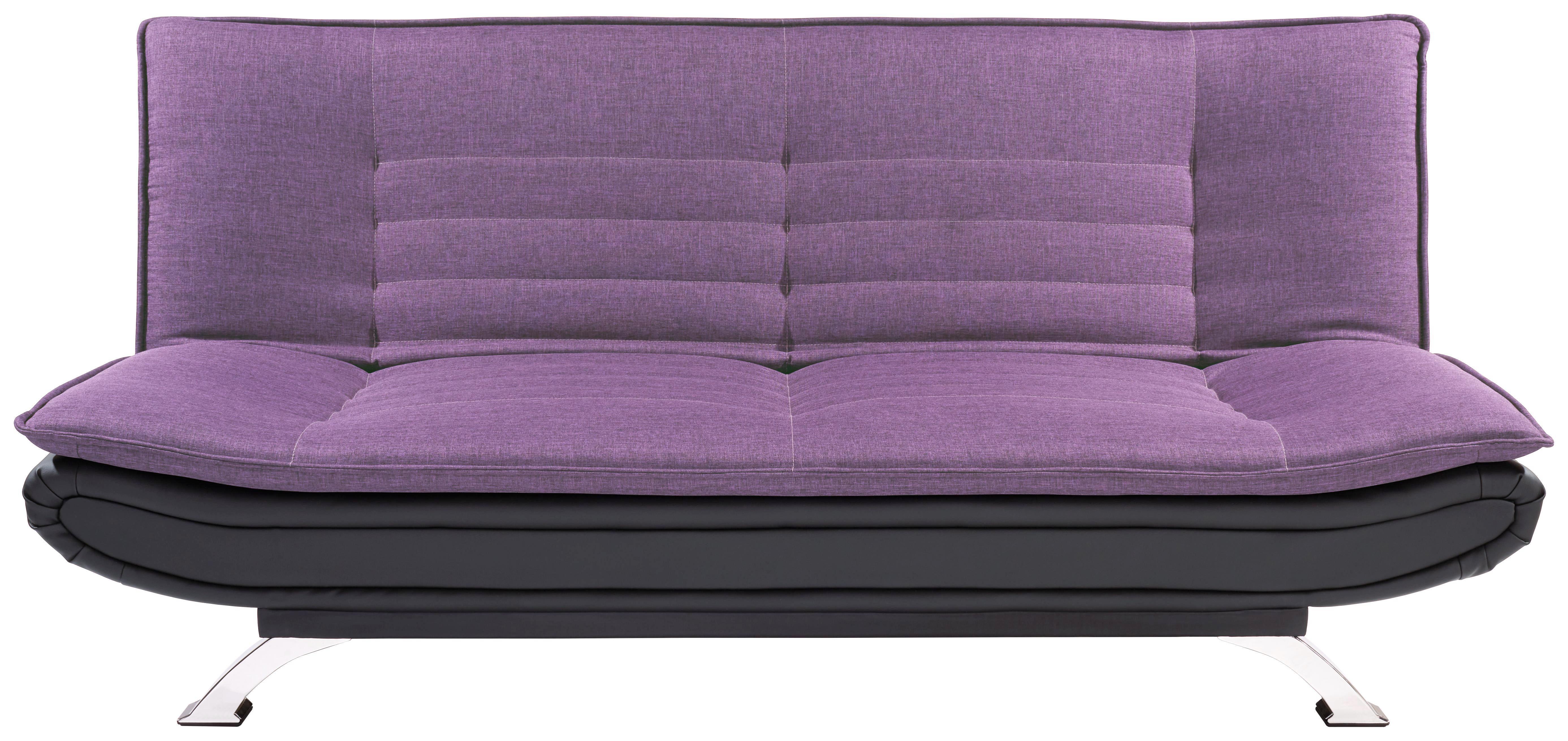 Kanapéágy Bari - viola/fekete, modern, textil/fém (190/90/102cm) - OMBRA
