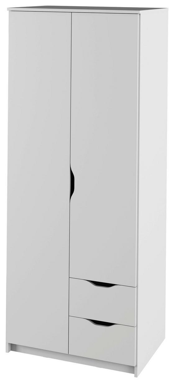 Kleiderschrank Adriana 78cm Weiß - Weiß, MODERN, Holzwerkstoff (78/195/55cm)