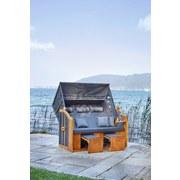 Strandkorb Ostsee Valentina Halblieger 3-Sitzer, Grau - Gelb/Grau, MODERN, Holz/Kunststoff (155/163/79cm) - Luca Bessoni