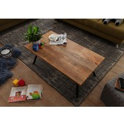 Couchtisch Holz mit Massiver Tischplatte, Mangoholz/Schwarz - Schwarz/Naturfarben, MODERN, Holz/Metall (110/60/42,5cm) - Livetastic