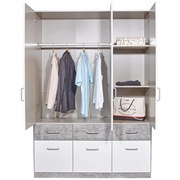 Aufsatzschrank Aalen Extra B:136cm Weiß/ Grey Stone Dekor - Weiß/Grau, KONVENTIONELL, Holzwerkstoff (136/39/54cm)