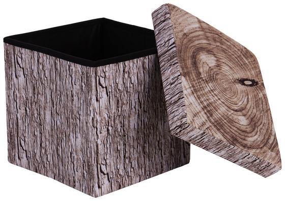 Sitzbox Woody 38cm Holzoptik - Sandfarben/Braun, MODERN, Holzwerkstoff/Textil (38/38/38cm)