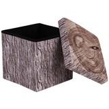 Taburet Woody - farby piesku/hnedá, Moderný, drevený materiál/textil (38/38/38cm)