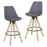 Barhocker-Set Lima 2-er Set Anthrazit - Eichefarben/Anthrazit, Design, Holz/Textil (49/113/49cm) - MID.YOU