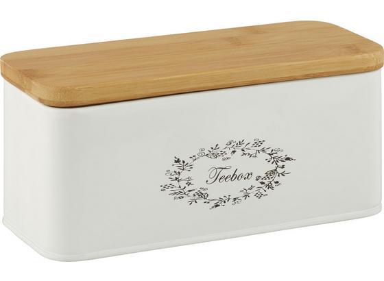 Box Na Čaj Lore - biela, Romantický / Vidiecky, kov/drevo (20/8,5/8,5cm) - Zandiara