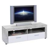 TV-Lowboard Beton B: 134 cm Hellgrau, Weiß - Hellgrau/Schwarz, Basics, Holzwerkstoff (134/43/42cm) - MID.YOU