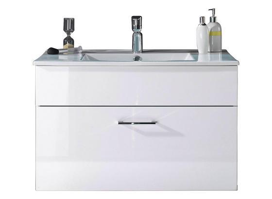 Waschtischunterschrank Splash B: 80 cm, Weiß - Weiß, Design, Holzwerkstoff/Stein (80/50/46cm)