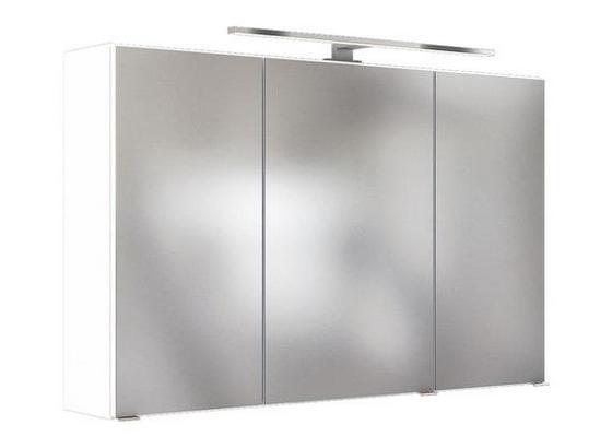 Spiegelschrank Pienza B: 100 cm Weiß - Weiß, Basics, Glas/Holzwerkstoff (100/200/48cm) - Livetastic