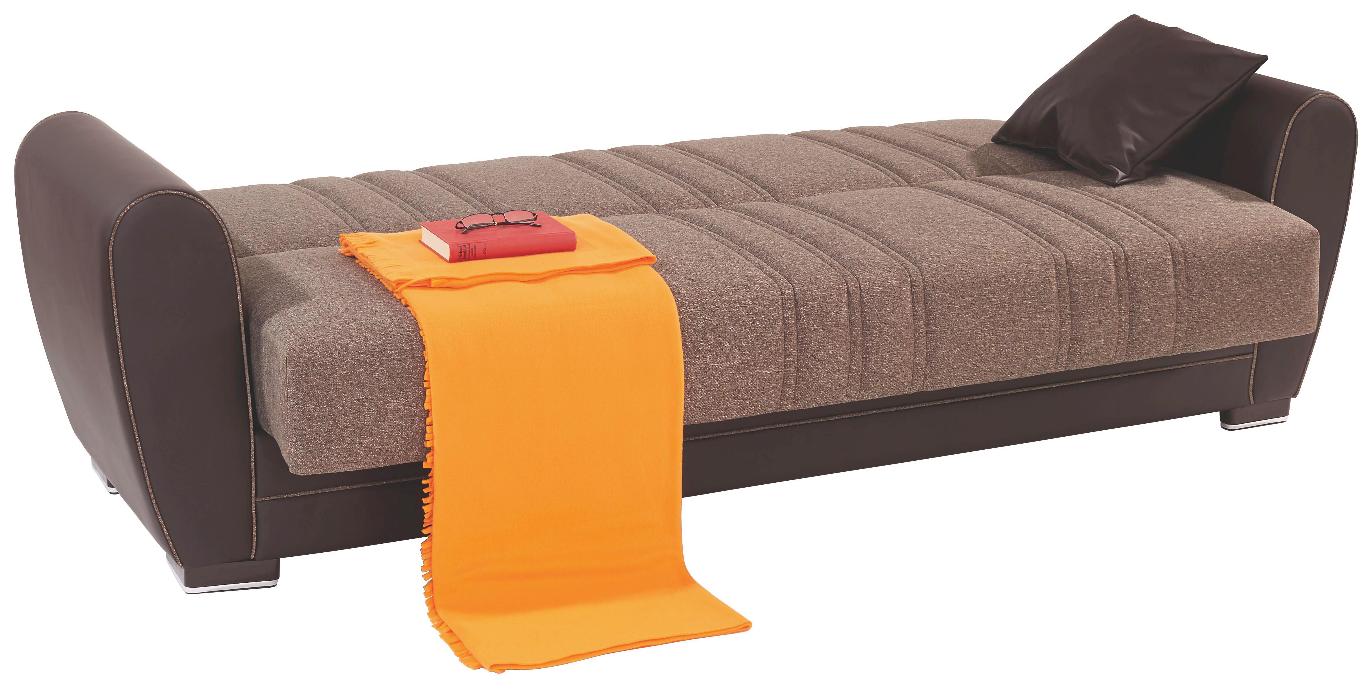 Kanapéágy Pelin - sötétbarna, konvencionális, műanyag/textil (235/85/90cm)