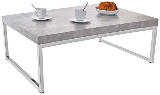 Konferenčný Stolík Genova - svetlosivá/strieborná, Moderný, kov/kompozitné drevo (110/36/70cm)