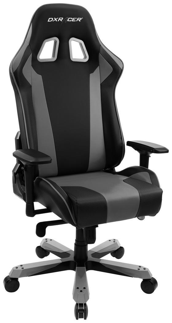 Gamingstuhl DX Racer King 06 Schwarz/Grau - Schwarz/Grau, MODERN, Kunststoff/Textil (80/131-141/80cm) - Dxracer