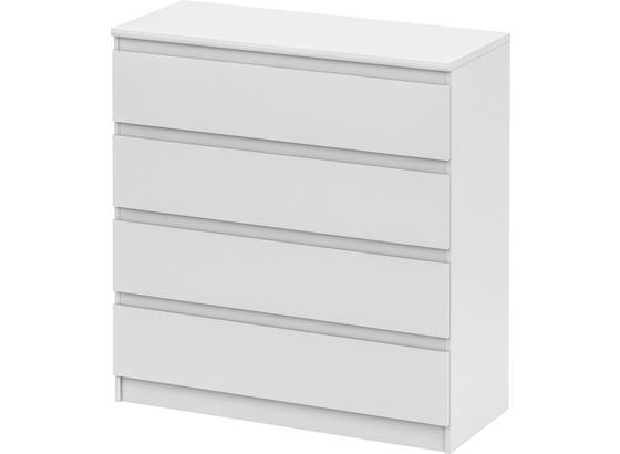 Komoda Smart 4 New - bílá, Moderní, kompozitní dřevo (106/110/45cm)