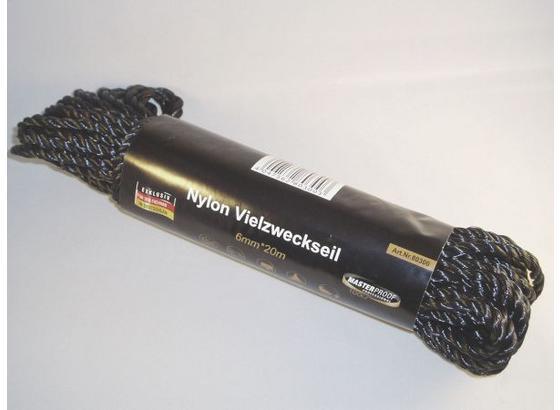 Universalseil 20 Meter - Schwarz, KONVENTIONELL, Kunststoff (0,6cm)
