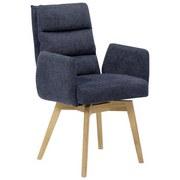 Armlehnstuhl Kampala Nachtblau Gepolstert + Drehbar - Blau/Eichefarben, Basics, Holz/Textil (61/95/65cm) - MID.YOU