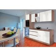 Küchenblock Premium B: 270 cm Weiß Hgl - Eichefarben/Weiß, MODERN, Holzwerkstoff (270/220,5/60cm) - MID.YOU