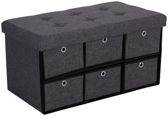 Lavica Bench - čierna/sivá, Moderný, drevený materiál/textil (76/38/38cm)