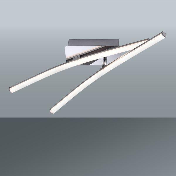 Led Stropná Lampa Simon - farby niklu, Konvenčný, kov (58/51/10cm)