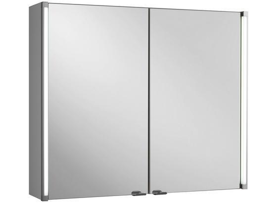 Spiegelschrank LED-Line 81 cm Weiß - Weiß, MODERN, Glas/Holzwerkstoff (81/67/16,5cm)