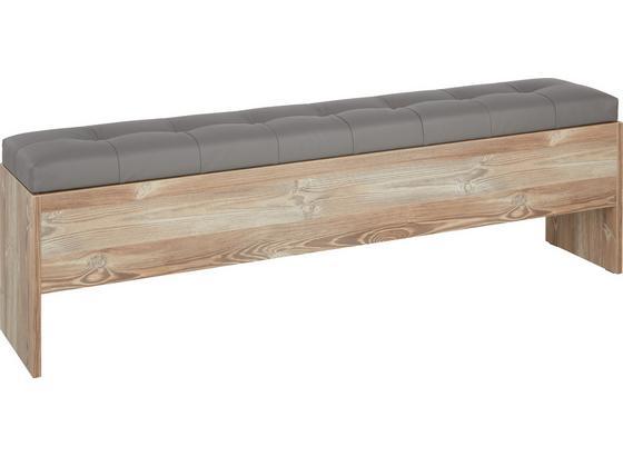 Truhlicová Lavica Chanton - farby borovice/tmavosivá, Štýlový, kov/kompozitné drevo (185/56/36,8cm) - Based