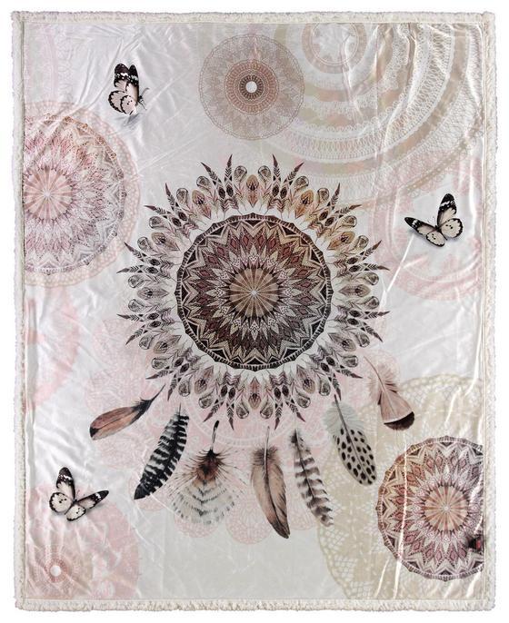Kuscheldecke Vandya - Hellbraun, Textil (130/160cm)