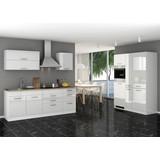 Küchenblock Mailand B: 380 cm Weiß - Weiß, Basics, Holzwerkstoff (380/200/60cm) - MID.YOU