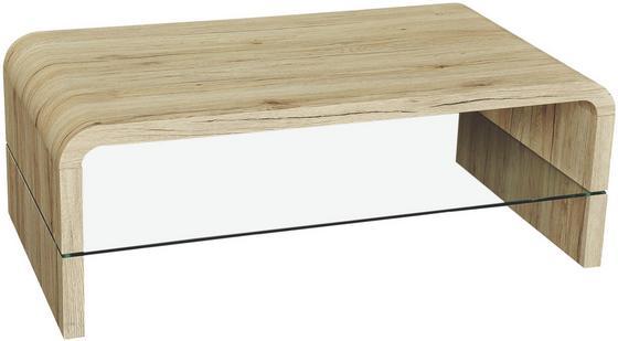 Konferenčný Stolík Aruba Ii - farby dubu/číra, Moderný, kompozitné drevo/sklo (110/41/60cm) - Mömax modern living