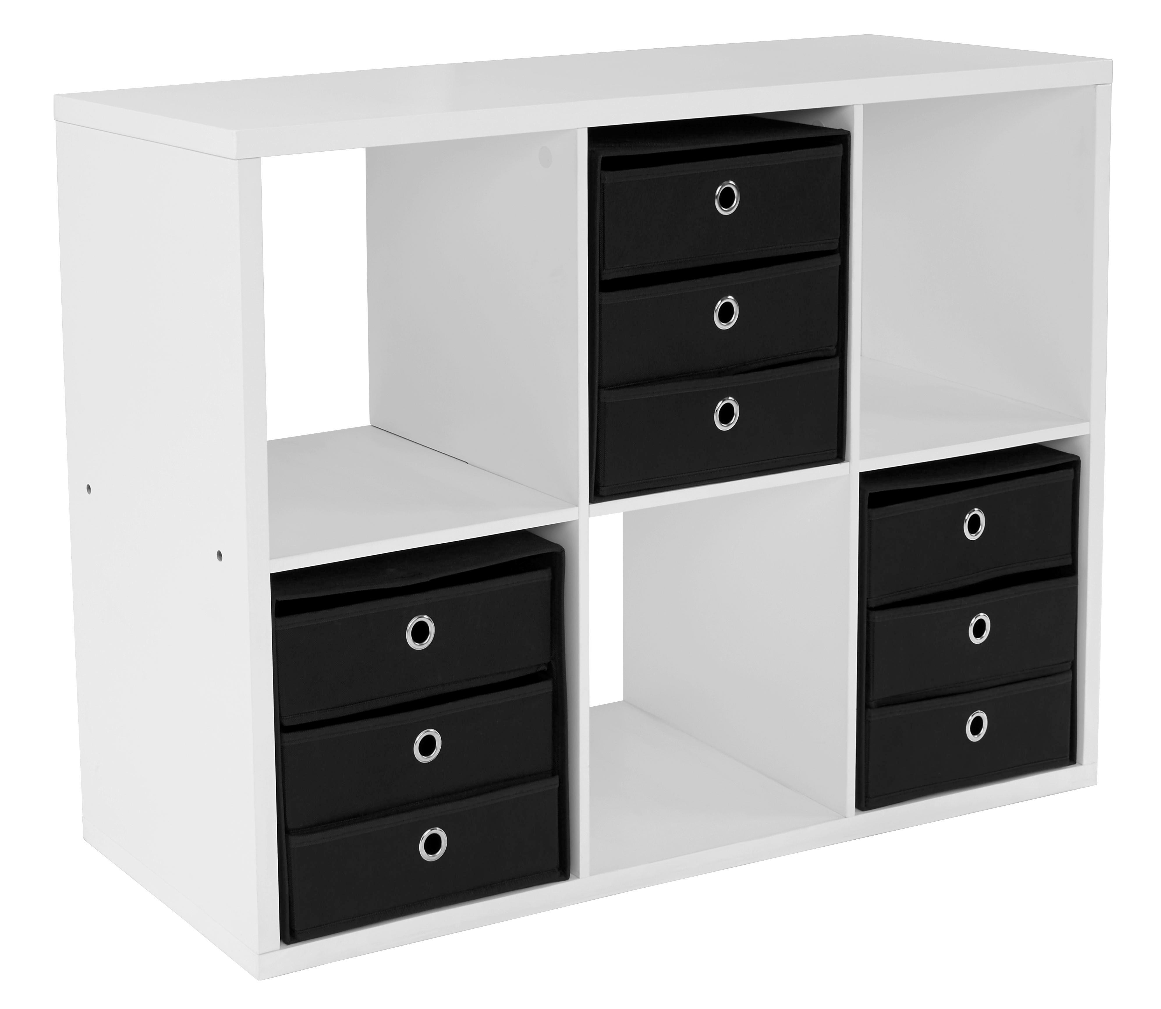 Regál Lucky - bílá, Moderní, dřevěný materiál (110/75/35cm)