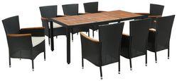 Gartenmöbel Set 9-Tlg. Moa Aus Kunststoff U. Holz mit Kissen - Beige/Schwarz, MODERN, Holz/Kunststoff - James Wood