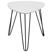 Beistelltisch Tropf - Dreieck Abgerundet Weiß / Metall - Schwarz/Weiß, MODERN, Holzwerkstoff/Metall (40/42/40cm) - Homezone