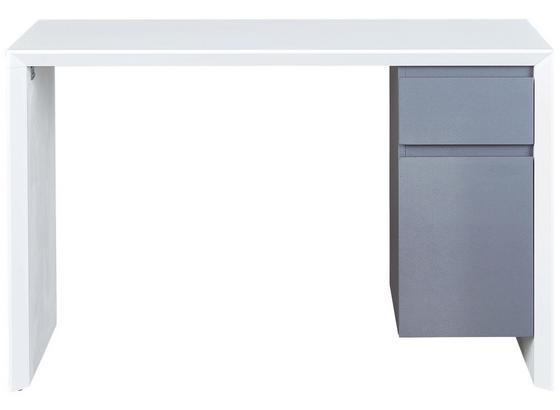 Schreibtisch Megara B: 120 cm Weiß - Weiß/Grau, Basics, Holzwerkstoff/Kunststoff (120/75/50cm) - Livetastic