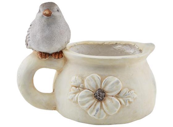 Pflanzentopf Birdy - Weiß/Grau, KONVENTIONELL, Stein (32,5/24,5/25,5cm) - Ombra