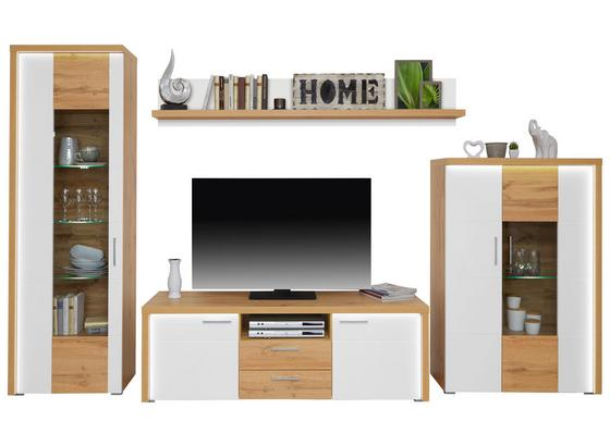 Odporúčaná Kombinácia Eleganza 2 - farby dubu/biela, Moderný, kompozitné drevo/sklo (316/161/50cm)