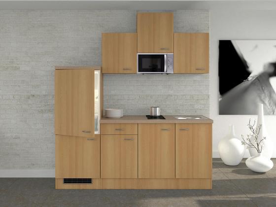 Küchenblock Nano 210 cm Buche - Buchefarben/Creme, MODERN, Holzwerkstoff (210/60cm)