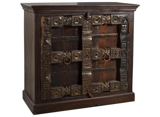 Sideboard Leon B: 100 cm Recyclingholz - Braun/Bronzefarben, Basics, Holz (100/90/45cm)