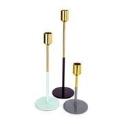 Kerzenständer 3er-Set Saga Gold/Mint/Pflaume/Grau - Pflaume/Goldfarben, Basics, Metall