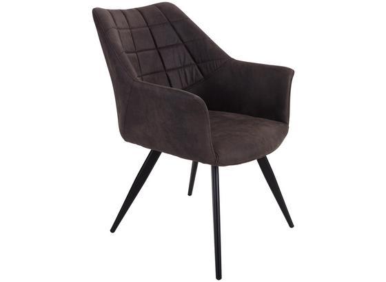 Armlehnstuhl Marbella Lederlook Grau Gepolstert - Schwarz/Grau, MODERN, Textil/Metall (57,5/85/62cm) - Ombra