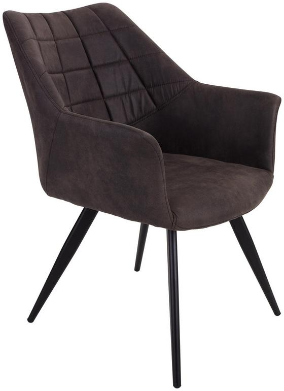 Stuhl Marbella Grau - Schwarz/Grau, MODERN, Textil/Metall (57,5/85/62cm) - Ombra