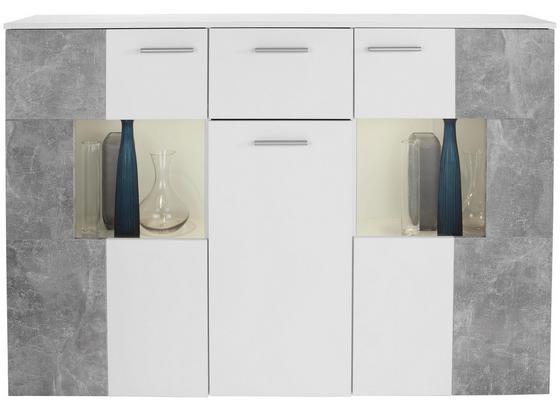 Komoda Sideboard Vulcan - biela/svetlosivá, Moderný, kompozitné drevo/sklo (160/111/35cm)